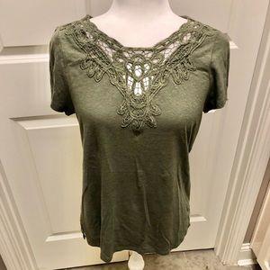 Pretty olive green top with decorative neckline